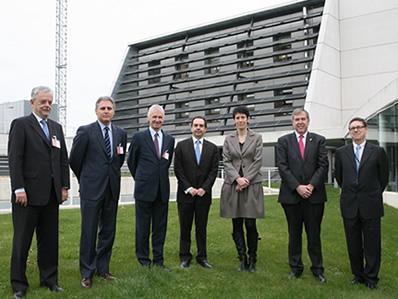 De izda. a dcha: Fernando Sánchez, José Javier Armendáriz, Phillipe Lowe, Pedro Marín, Elma Sáiz, José Mª Roig y Enrique Jiménez