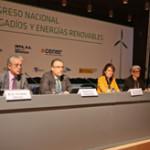 Mesa de apertura del Congreso de Regadíos y Energías Renovables: Fernando Sánchez (Cener), alcalde Maya, Presidenta Barcina, consejera Goicoechea y Miguel Horta (Intia).